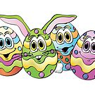 Easter Eggs Cartoon by Graphxpro