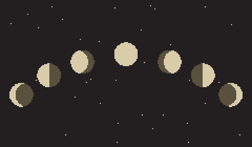 "The Moon Phases (Fases da Lua). Pixel-Art"" by A-Dacos 