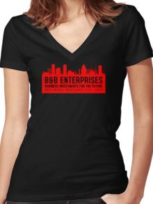 The Wire - B&B Enterprises - Red Women's Fitted V-Neck T-Shirt