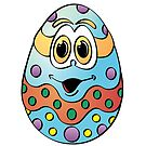 Blue Easter Egg C Cartoon by Graphxpro