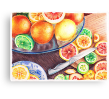 Delicious citruses on the desk Canvas Print