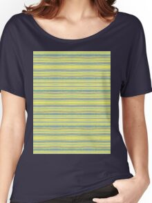 blue stripes on yellow Women's Relaxed Fit T-Shirt
