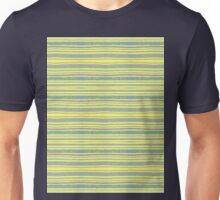 blue stripes on yellow Unisex T-Shirt