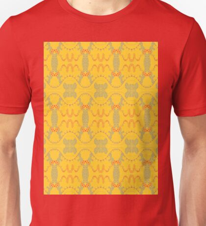 free form red and grey waves on yellow Unisex T-Shirt