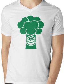 Funny broccoli face Mens V-Neck T-Shirt