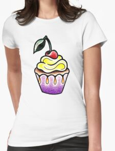 Cute little cupcake traditional tattoo design Womens Fitted T-Shirt