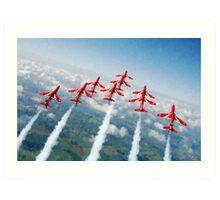 The Red Arrows - Raf Display Team painting / digital art Art Print