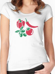 Vegetables tomato olive bell pepper chili Women's Fitted Scoop T-Shirt
