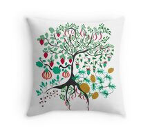 Fairy floral pattern garden with plants, tree and flowers Throw Pillow