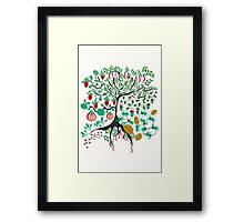 Fairy floral pattern garden with plants, tree and flowers Framed Print