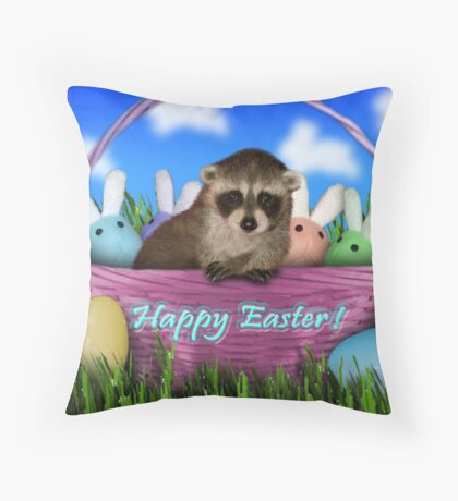 Easter Raccoon Throw Pillow