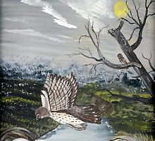 Barred Owl in Flight by Sara Gardner Blow