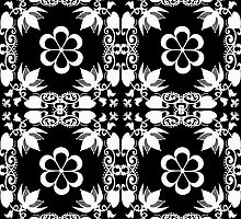 Ornamental seamless pattern damask arabesque white elements texture black by fuzzyfox