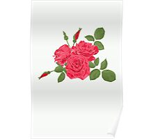 Seamless flower red roses pattern with horizontal stripes Poster