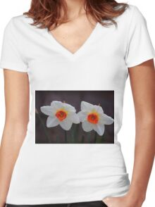 White Daffodils  Women's Fitted V-Neck T-Shirt