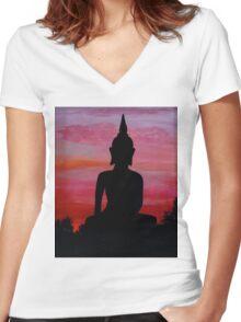 Sunset Buddha Women's Fitted V-Neck T-Shirt