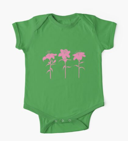 Pink Lilies One Piece - Short Sleeve