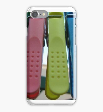 coloured pegs iPhone Case/Skin
