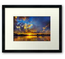 Winter warmth in blue & gold Framed Print