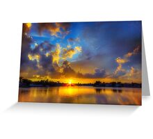 Winter warmth in blue & gold Greeting Card