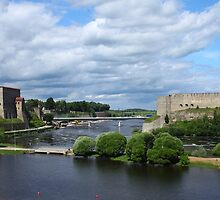 confrontation medieval fortress of Narva and Ivangorod fortress by mrivserg