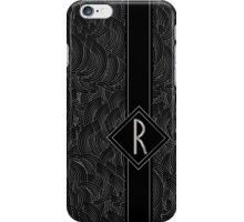 1920s Jazz Deco Swing Monogram black & silver letter R iPhone Case/Skin