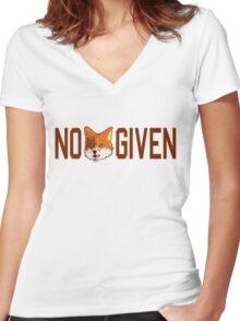Funny - No Fox Given Women's Fitted V-Neck T-Shirt