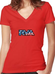 RVA Logo - American Flag Women's Fitted V-Neck T-Shirt