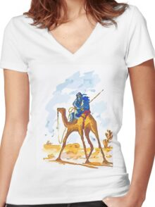 Azure Nomad Women's Fitted V-Neck T-Shirt
