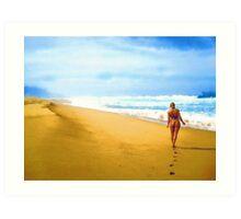 Walking along the beach Art Print