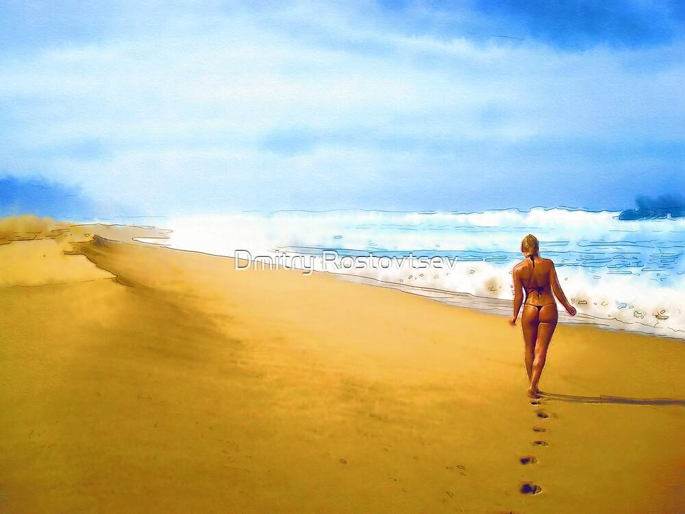 Walking along the beach by Dmitry Rostovtsev
