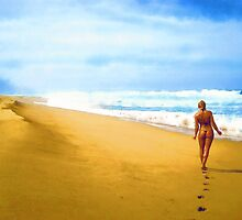 Walking along the beach by Dmitry Rostovtsev