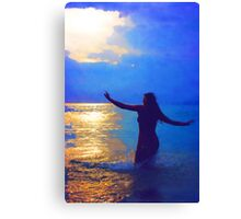 Swimming in the evening ocean Canvas Print