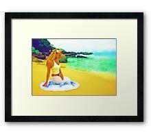 Sitting on the beach Framed Print