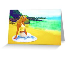 Sitting on the beach Greeting Card