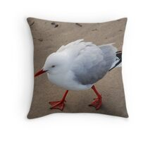 Seagull on the trot Throw Pillow