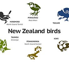 New Zealand Birds by piedaydesigns