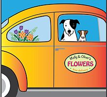Flowers, Dogs, and VW Bug by dreamingdogs