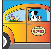 Flowers, Dogs, and VW Bug Photographic Print