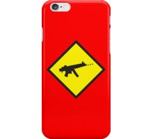 Yellow WARNING sign digital gamer machine gun iPhone Case/Skin
