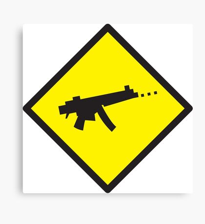 Yellow WARNING sign digital gamer machine gun Canvas Print