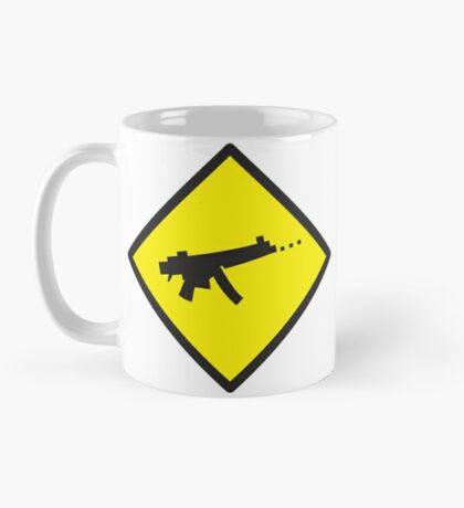 Yellow WARNING sign digital gamer machine gun Mug