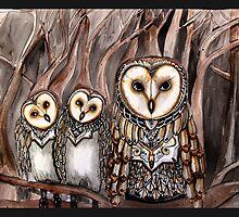 Three barn owls by Jenny Wood
