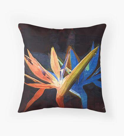 Bird of paradise dance Throw Pillow
