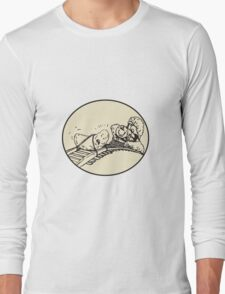 Date Fruit Tied Rail Track Train Coming Oval Long Sleeve T-Shirt