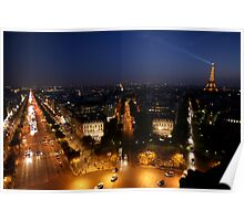 Champs Elysees at Night Poster