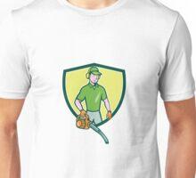 Gardener Landscaper Leaf Blower Crest Cartoon Unisex T-Shirt