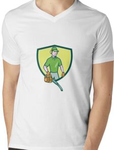 Gardener Landscaper Leaf Blower Crest Cartoon Mens V-Neck T-Shirt