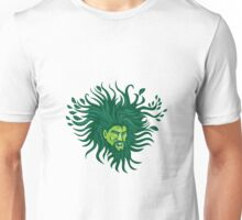 Green Man Head Hair Flowing Leaves Cartoon Unisex T-Shirt