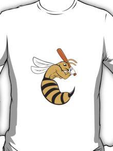 Killer Bee Baseball Player Bat Cartoon T-Shirt